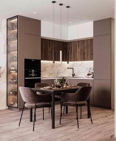 Modern Kitchen Interiors, Luxury Kitchen Design, Kitchen Room Design, Home Room Design, Kitchen Cabinet Design, Home Decor Kitchen, Interior Design Kitchen, Apartment Interior, Apartment Design