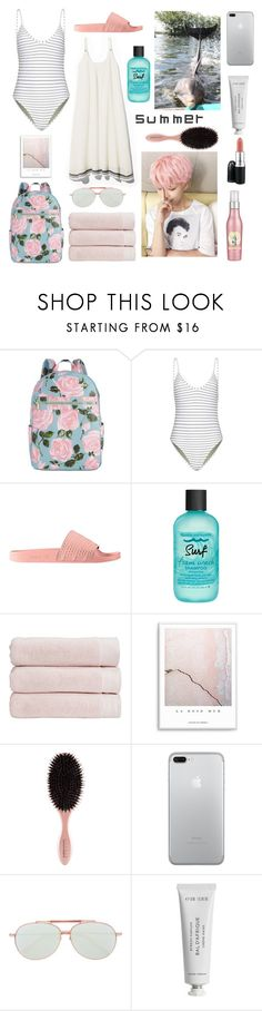 """""""Swimming with dolphins with jimin"""" by amyliannebarlow ❤ liked on Polyvore featuring ban.do, Bower, adidas, Bumble and bumble, Christy, Frency & Mercury, Byredo and MAC Cosmetics"""