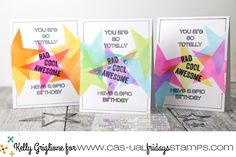 Stars Fri-Dies used as a stencil with awesome sentiments from Rad 2 by CAS-ual Fridays Stamps available at www.cas-ualfridaysstamps.com #stars #stencils