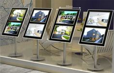 Estate Agent & Letting Agency LED window and floor displays. Window Signage, Signage Display, Shop Interiors, Office Interiors, Real Estate Office, Christmas Tree Crafts, Exhibition Display, Shops, Real Estate Agency