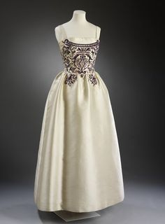 1957, France - Evening dress by Antonio Castillo for Lanvin - Silk with chenille and diamante embroidery