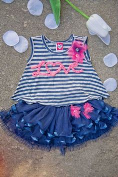 Paris with Love Top & Skirt Set<bR>2T to 4T Now in Stock