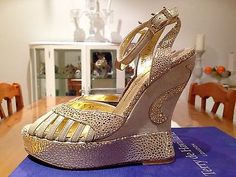 Terry de Havilland NEW Iconic Gold Leather Ankle Strap Margaux Wedges EU37 UK 4 for sale on Ebay