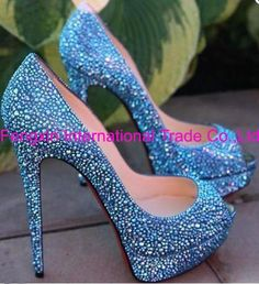 Aliexpress.com : Buy Sexy blue crystal wedding shoes, bridal high heels ( large sizes35 44) from Reliable Blue crystal wedding shoes suppliers on Fengxin International Trade Co., Ltd. $88.99