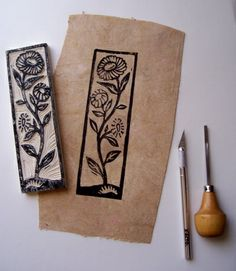 Make your own botanical rubber stamps - Note the image on woodblock mirrors that on the page. -Tutorial: Make your own botanical rubber stamps - Note the image on woodblock mirrors that on the page. Stamp Printing, Screen Printing, Make Your Own Stamp, Eraser Stamp, Stamp Carving, Handmade Stamps, Linocut Prints, Gravure, Printmaking