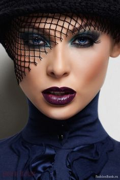missmaryg:    makeupartistsmeet:    Dark Lips. Makeup/Hair/Photographer/Model Unknown    Fierce!