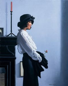Jack Vettriano — Valentine Rose,  2012. Painting: oil on canvas. Private collection.  • Figurative  • Realism  • Female Portraits
