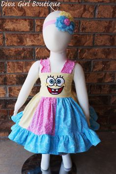 Boutique Girls Birthday Dress Spongebob by divagirlboutique Birthday Girl Dress, Princess Birthday, Birthday Dresses, Birthday Stuff, 2nd Birthday, Birthday Ideas, Spongebob Crafts, Dress Outfits, Girl Outfits