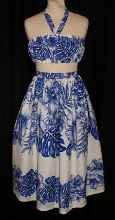 Audrey - Vintage 1950s inspired full skirt and matching bandeau top in Hawaiian border print XS S and M