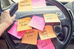 post-it notes on steering wheel