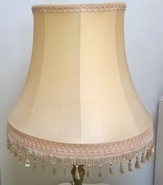 Medium/Large pale gold vintage Downton  style fringe tassell standard lampshade