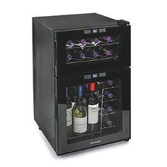 Wine Enthusiast Silent 24 Bottle Dual Zone Touchscreen Wine Refrigerator Reviews           $ 259.00 Wine Cellars Product Features This thermoelectric, energy-efficient, CFC-free refrigerator protects taste of reds and whites Virtually silent cooling, it boasts an exterior digital touchscreen and 24-bottle capacity Top zone range of 46-65F; Bottom zone range of 52-65F though the exterior digital touchscreen with temperature display The reflective smoked-glass Thermopane door w..