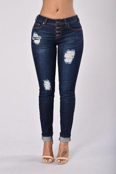 In Destruction Skinny Jeans - Blue Black | Fashion Nova