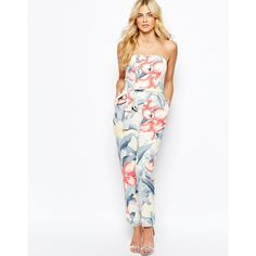 3eaae2df1e8 Jumpsuit by Oasis Smooth woven fabric All-over print Bandeau neckline  Detachable shoulder straps Tie to waist Twin side pockets Zip back closure  Regular fit ...
