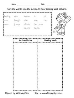 28 Action And Linking Verbs Worksheet Action Verbs
