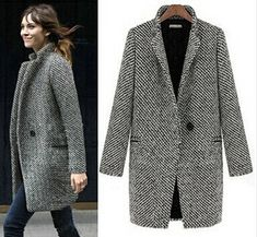 Grey Notch Stand Collar Long Sleeve Oversize Houndstooth Coat