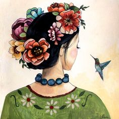 ORIGINAL art work frida inspired with hummingbird by claudiatremblay on Etsy