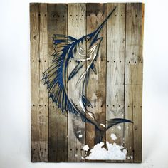 Large Shimmering Blue and White Sailfish on reclaimed wood Sand Crushed Sea Glass inlay Ocean Art Marine Art Sport Fishing Billfish Marlin by UnrefinedDesigns on Etsy