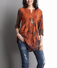 Another great find on #zulily! Orange Paisley Notch Neck Pin Tuck Tunic #zulilyfinds