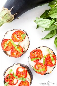 Eggplant Margherita Pizzas (Low Carb, Gluten-free) - These simple eggplant Margherita pizzas are bursting with aromatic garlic, ripe cherry tomatoes, gooey mozzarella, and fresh basil. Low carb and gluten-free.