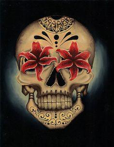 Londis Stargazer by Gabe Londis Mexican Sugar Skull Canvas Art Print – moodswingsonthenet