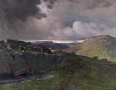 Christian Skredsvig  (1854-1924): Folkegave fra Tønsberg: Maleriet Uveir på Fjellet