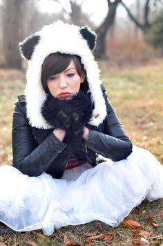 Keiko Lynn sports a panda hat.