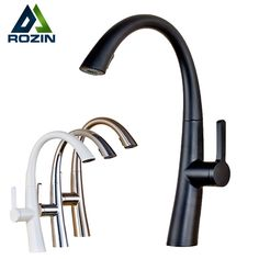 (79.95$)  Watch here - http://ai82z.worlditems.win/all/product.php?id=32772319841 - Good Quality Pull Out Spring Kitchen Faucet White /Black Bathroom Vessel Sink Mixer Tap Deck Mounted Swivel Spout Mixer Tap