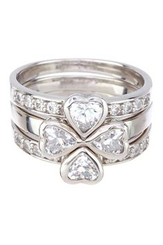 Sterling Silver Diamond 4 Small Hearts Ring Set