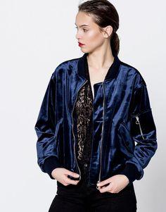 Velvet bomber jacket - Coats and jackets - Clothing - Woman - PULL&BEAR Sweden
