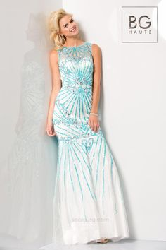 76d6ed51958 BG Haute G3311 Sheer Beaded Mermaid Dress