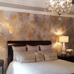 Beautiful Leaf and Metallic Wall Finish by Leslie Albritton of LA Custom Art   Stunning Silver Inspired Wall Finishes Feature by Modern Masters