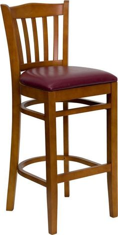 HERCULES Series Cherry Finished Vertical Slat Back Wooden Restaurant Bar Stool with Burgundy Vinyl Seat XU-DGW0008BARVRT-CHY-BURV-GG by Flash Furniture