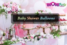 Baby shower balloons in a range of shapes and sizes including foil, latex balloons for adding instant to your baby shower decoration.