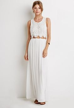 Crochet-Paneled Maxi Dress | Forever 21 - 2000078194 c the backside