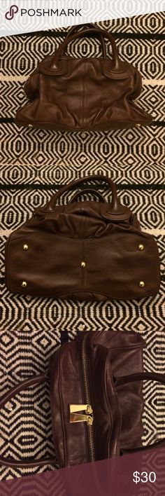 Soft pebbled brown leather bag with gold Hardware Presa chunky brown leather bag with chunky gold hardware. Great condition, only used a few times! Bags Satchels