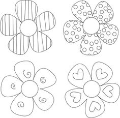 Here Are Four Free Digital  Stamps Featuring Striped and Dotted Flowers: Four Funky Flower Digital Stamps