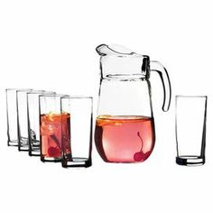 "7-piece glass beverage set. Includes 6 glasses and a pitcher.     Product: 1 Pitcher and 6 glassesConstruction Material: GlassColor: ClearFeatures:   Glass: 10 Ounce capacity Pitcher: 56 Ounce capacity Dimensions: 9.5"" H x 11.5"" W x 6.5"" D (pitcher) Cleaning and Care: Dishwasher safe"
