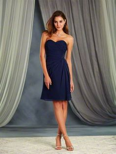 Alfred Angelo Style 7367S: short cocktail length bridesmaid dress with sweetheart neckline and corset back detail