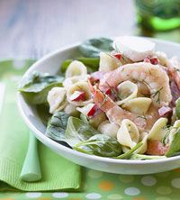 Spinach-Pasta Salad with Shrimp ~ 17 Carbs, 247 Calories & 4 Grams Saturated Fat. This Can Be Made Healthier By Using Whole Wheat Pasta!