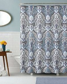 Amazon.com   Calais Dobby Silver Teal Aqua Blue Gray Brown Paisley Fabric Shower  Curtain
