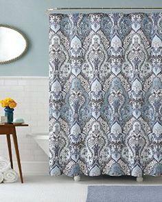 Amazon.com   Calais Dobby Silver Teal Aqua Blue Gray Brown Paisley Fabric Shower  Curtain