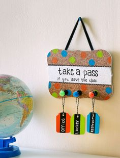 """Remember to """"take a pass when you leave the class"""" with these fun DIY Classroom Hall Passes."""