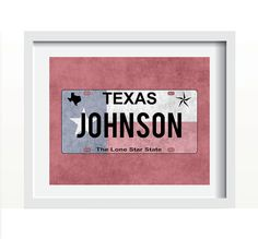 Customizable Texas License Plate Print With Various Background Colors