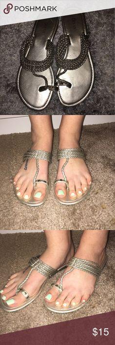 Golden silver sandals Golden silver strappy sandals Dexter Shoes Sandals