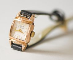 Petite lady watch art deco design  gold plated watch by 4Rooms