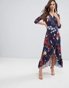 #ASOS - #QED London QED London Wrap Maxi Dress With Ruffle - Navy - AdoreWe.com
