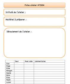 Fiche de liaison ATSEM - enseignant - La classe de Frisettes