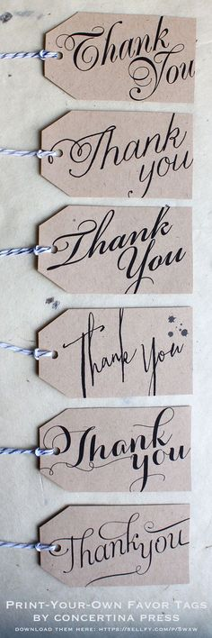 """DIY printable wedding favor or gift tags that say """"Thank You"""" in 6 beautiful fonts - 4.99 for all six, or .99 each"""