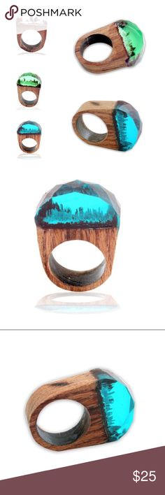 Scenic hand carved wood rings new Handmade, wood and resin ring. These are US sized rings. Come in a variety of sizes, please select size/color when purchasing. I cannot offer any lower with the fees taken on Poshmark. These are all one of a kind, no two are alike. *ship same/next day *no holds/trades *pet free *smoke free home Jewelry Rings
